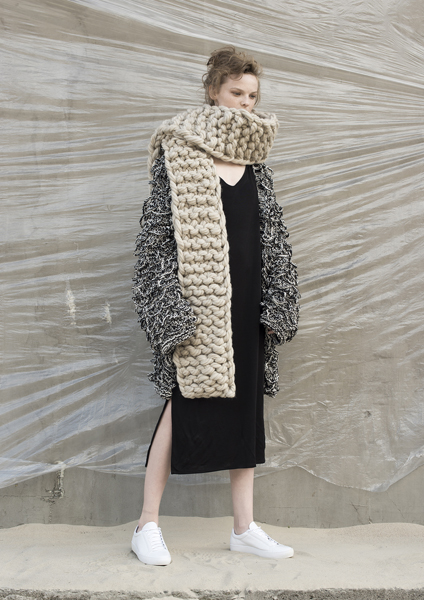 Beige Wool Chunki Scarf by Dudzinska