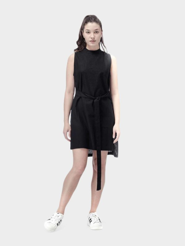 Luci Linen sleeveless tunic dress - black