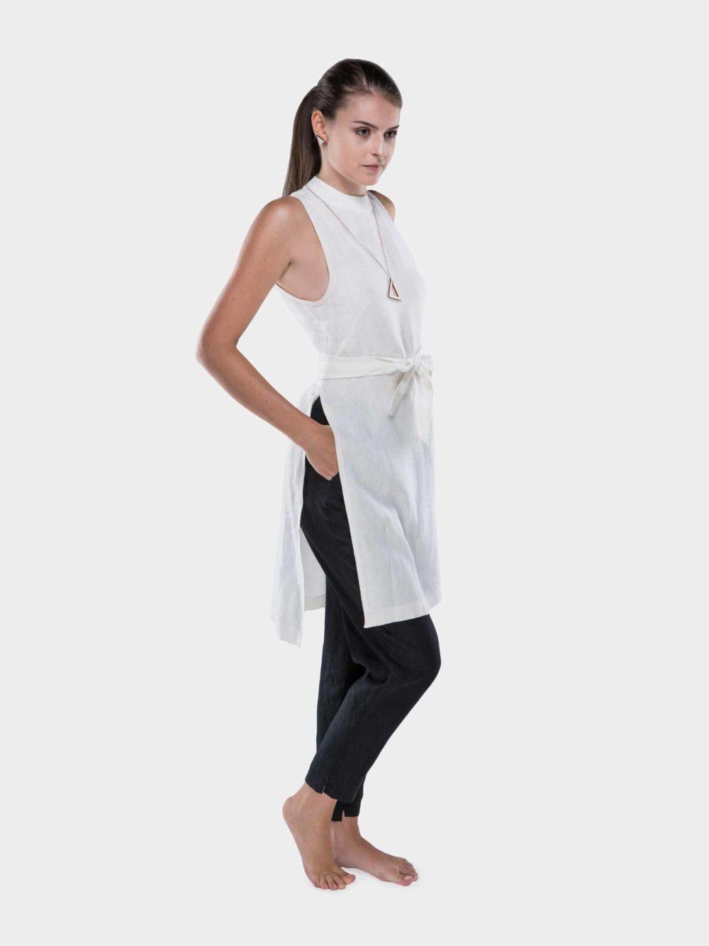 Luci Linen sleeveless tunic dress - white