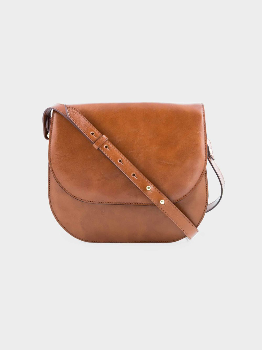 Vivas Leather Goods Leather cross body bag in cognac color - available at utopiast.com