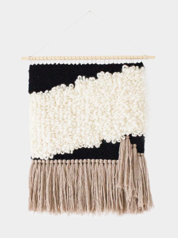 WeavingMyStory wall hanging black off white