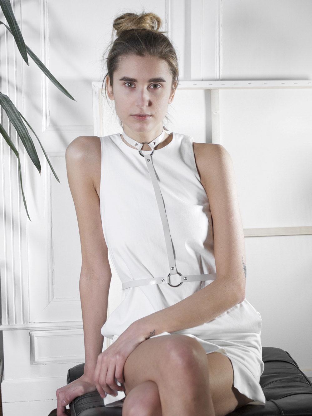 Ida Tau Leather Harness Two - White